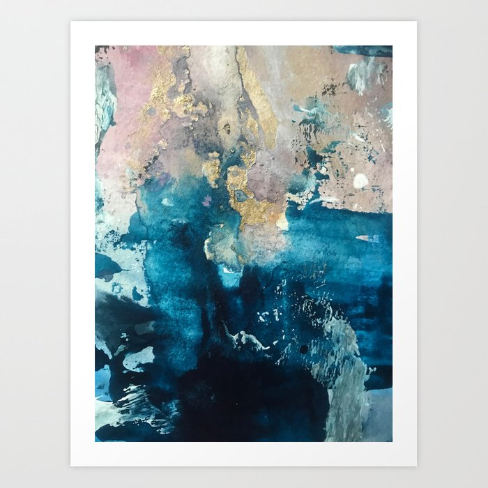 Timeless: A gorgeous, abstract mixed media piece in blue, pink, and gold by Alyssa Hamilton Art Kunstdrucke