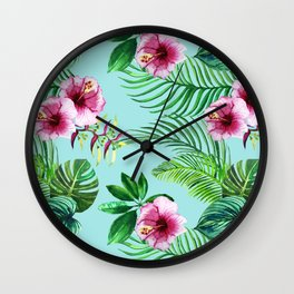 watercolor print of tropical leaves and flowers Wall Clock