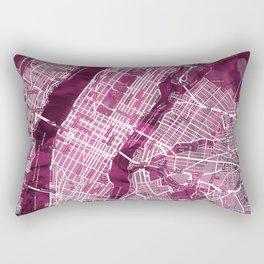 Black Rose Print Showing Manhattan NYC in Peony Floral Styling Rectangular Pillow