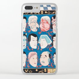 Utagawa Kuniyoshi - A Votive Tablet With Masks Of Kabuki Actors At Face Value Clear iPhone Case