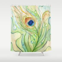 peacock feather Shower Curtains featuring Peacock Feather by Olechka