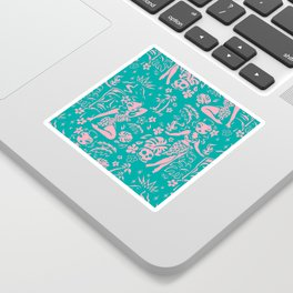Tiki Temptress in Pink and Turquoise Sticker
