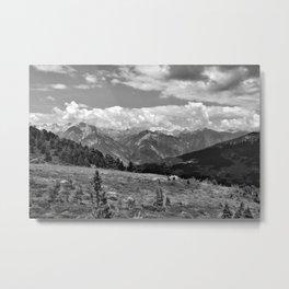 panorama cloudy alps serfaus fiss ladis tyrol austria europe black white Metal Print