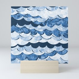 Abstract Blue Sea Waves Design Mini Art Print