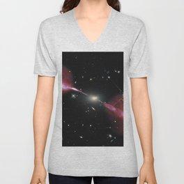 Galaxy Hercules A centered by Massive Black Hole Telescopic Photograph Unisex V-Neck