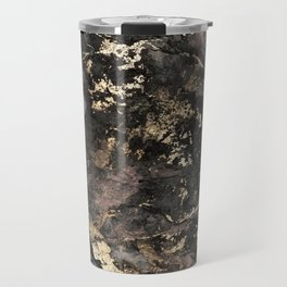 Gold Vein Black Marble Design Travel Mug