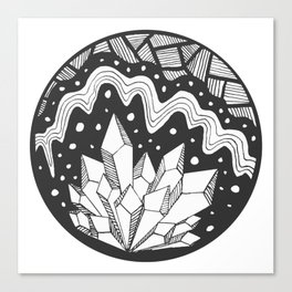 Crystal Cluster in Black and White Canvas Print