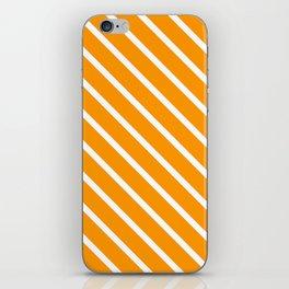 Neon Orange Diagonal Stripes iPhone Skin