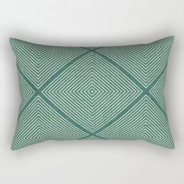 Stitched Diamond Geo Grid in Green Rectangular Pillow