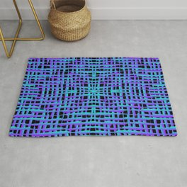 Square light blue curved stripes with imitation of the bark of a violet tree trunk. Rug