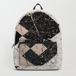 Distressed Subdued Tile Blocks Pattern Backpack