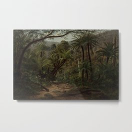 Ferntree and Palms, Tropical Gully landscape portrait by Eugene von Guerard Metal Print