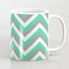 Mint Green, White, and Grey Chevron Coffee Mug