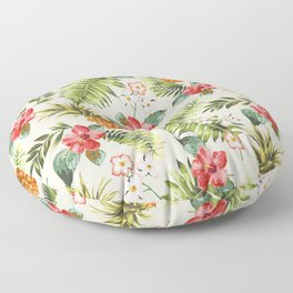 pineapple with tropical flower Floor Pillow