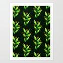 Abstract Watercolor Green Plant With Orange Berries by borianagiormova