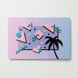 Memphis Pattern 25 - Miami Vice / 80s Retro / Palm Tree Metal Print