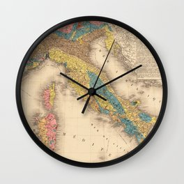 Vintage Italy Geology Map (1844) Wall Clock