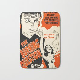 Vintage Poster The Burning Question Bath Mat