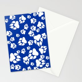Blue and White Wildcats Paw Print Pattern Digital Design Stationery Cards