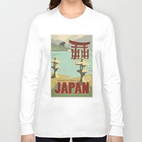 travel poster Long Sleeve T-shirts featuring Kaiju Travel Poster by Duke Dastardly
