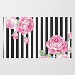 Black white blush pink watercolor floral stripes Rug