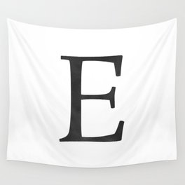 Letter E Initial Monogram Black and White Wall Tapestry