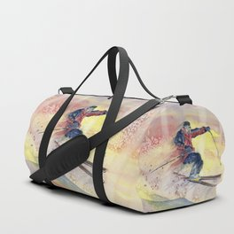 Colorful Skiing Art Duffle Bag