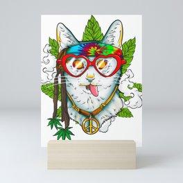 Marijuana Hippie Kitty Mini Art Print