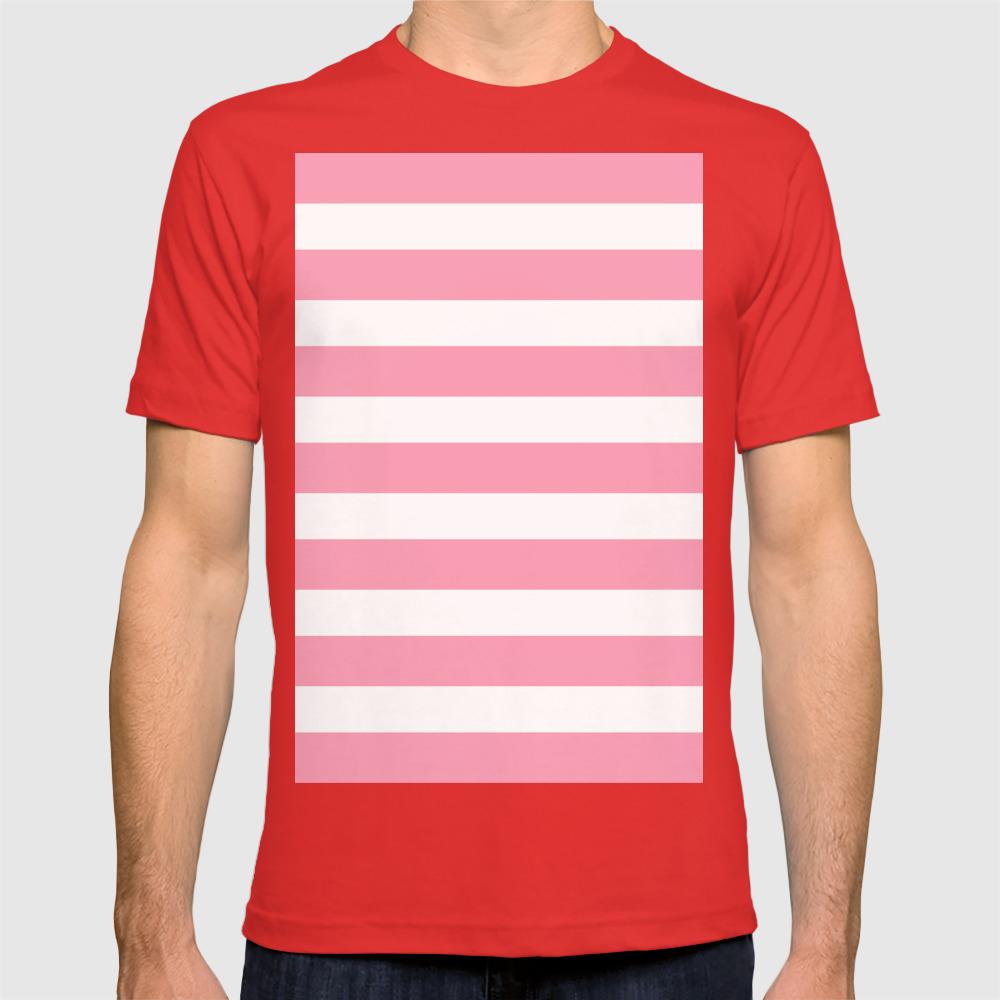 573ef70c Salmon Pink & White Stripes T-shirt by thehappyarkansan | Society6