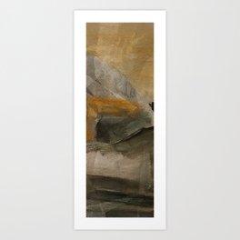 mountain in yellow sky Art Print