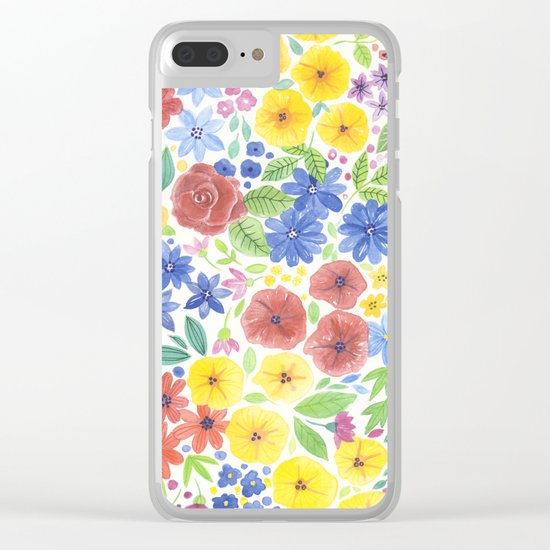Doodle floral garden in watercolor Clear iPhone Case