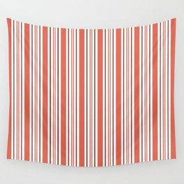 Pantone Living Coral Stripes Thick and Thin Vertical Lines Wall Tapestry