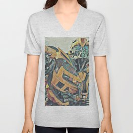 Bumblebee Surprised Artistic Illustration Colored Pencils Lines Style Unisex V-Neck