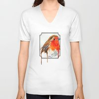 robin V-neck T-shirts featuring Robin by Paint the Moment