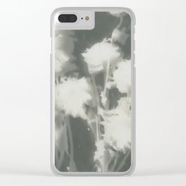 Gray Dahlias Clear iPhone Case