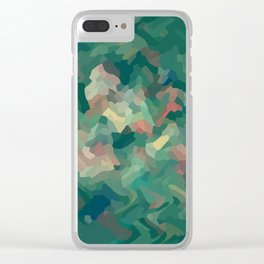 Green Abstract Moss Clear iPhone Case