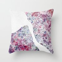 liverpool Throw Pillows featuring Liverpool map by MapMapMaps.Watercolors