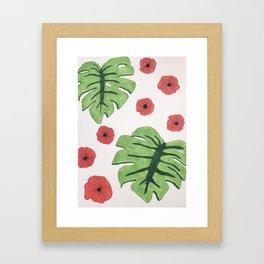 Poppies and monstera leaves Framed Art Print