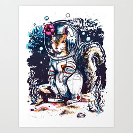 Squirrel in a Diving Suit Art Print