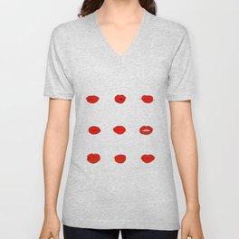 Red Lips Pattern Unisex V-Neck