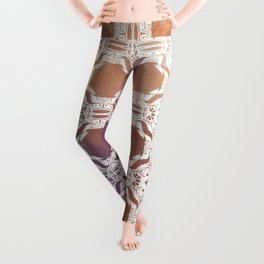 WHITE AND GOLD WATERCOLOR MOSAIC  Leggings