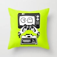 joy division Throw Pillows featuring Joy(stick) Division by Roberlan Borges