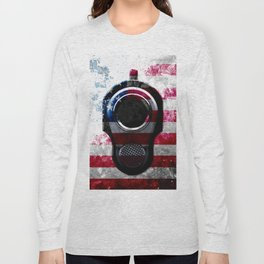 M1911 Colt 45 and American Flag on Distressed Metal Long Sleeve T-shirt