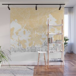 Helsinki Finland Skyline Map Wall Mural
