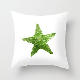 Green Watercolour Star, Watercolor, Nursery decor, New Baby Gift, Fine art painting fr Throw Pillow