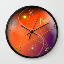 Feng Shui five elements Orange Purple Wall Clock