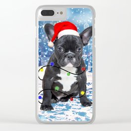 French Bulldog Holidays Christmas Snow Clear iPhone Case
