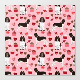 English Springer Spaniel love hearts valentines day gifts for dog person pet friendly pet portrait Canvas Print