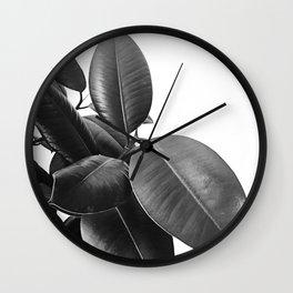 Ficus Elastica #21 #BlackAndWhite #foliage #decor #art #society6 Wall Clock