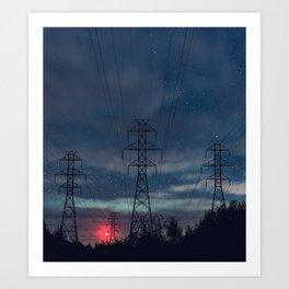 High Voltage Night Art Print